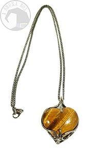 Amuleto - Coração em Olho de Tigre