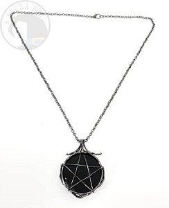 Amuleto/ Talismã - Obsidiana e Pentagrama - 4,5cm