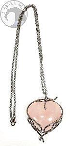 Amuleto - Coração de Quartzo Rosa