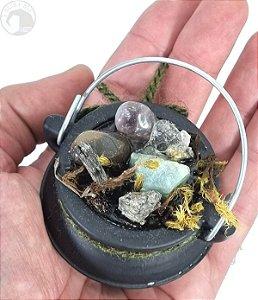 Caldeirãozinho com Pedras Naturais e Orgonite