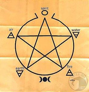 Toalha Pentagrama para Altar e Leitura de Oráculos (Amarela)