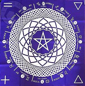 Toalha para Leitura de Oráculos - Mandala Astrológica - Roxa
