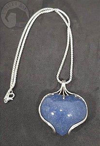 Amuleto - Coração de Quartzo Azul