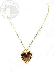 Amuleto - Coração de Quartzo Fumê