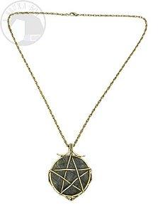 Amuleto - Labradorita e Pentagrama - 5 cm