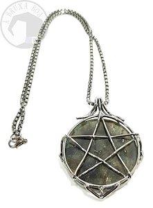 Amuleto - Pentagrama e Labradorita - 4 cm
