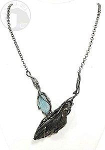 Amuleto Vassoura de Bruxa com Água Marinha