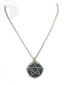Amuleto - Pentagrama e Obsidiana - Ouro Velho