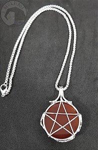Amuleto - Ágata de Fogo e Pentagrama