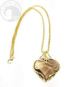 Amuleto - Coração de Quartzo Fumê Facetado