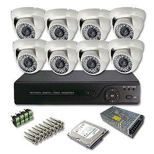 Kit Cftv HDCVI Dvr 8 Canais 8 Câmeras Infravermelho JTC 1.0MP  + HD 1 Terabyte Grátis