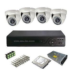 Kit Cftv HDCVI Dvr 4 Canais 4 Câmeras Infravermelho JTC 1.0MP 720p 25 Metros 3.6mm Acessórios + HD 500 Gigabyte Grátis