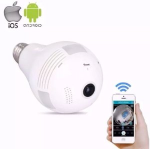 Lâmpada IP Profissional Câmera Espiã Led Ip Wifi Hd 2.0 Megapixel Panorâmica 360º Compatível com Smartphone / DVR / NVR / CPU / CMS