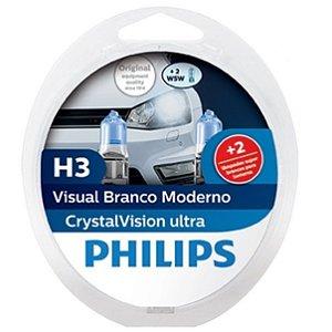 Lâmpada H3 Philips Crystal Vision Ultra Branca - Par (2 unidades)