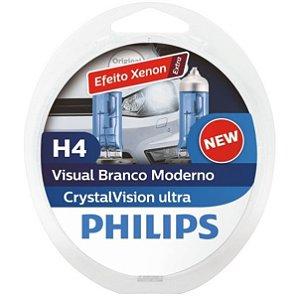 Lâmpada H4 Philips Crystal Vision Ultra Branca - Par (2 unidades)