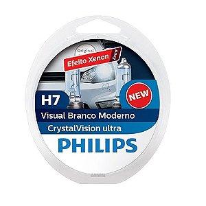 Lâmpada H7 Philips Crystal Vision Ultra Branca - Par (2 unidades)