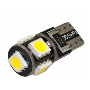 Lâmpada T10 CANBUS Branco 5 LED's (Pingo - W5W ) - Par (2 unidades)