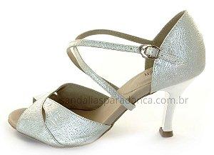 Sandália para Dança de Salão Prata Cromado