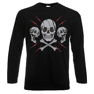 Camiseta Manga Longa Skull 3 Caveiras Cor Preta