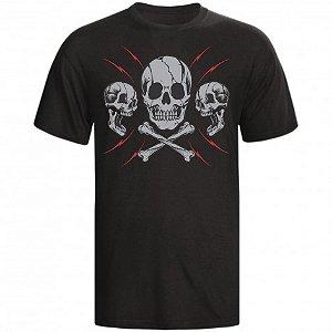 Camiseta Skull 3 Caveiras Cor Preta