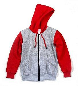 Blusa de Moletom Com Ziper cor Vermelha e Cinza Mescla
