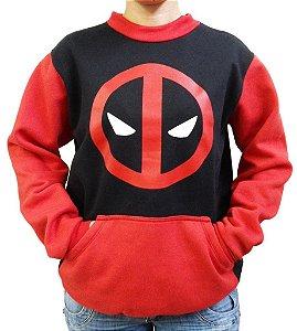 Blusa de Moletom Deadpool com bolso Canguru cor Preta