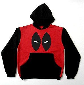 Blusa de Moletom Deadpool Mascara cor vermelha com manga preta