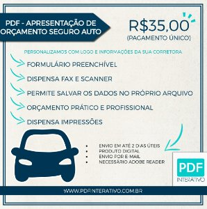 PDF Preenchível Para Apresentação de Orçamento Seguro Auto