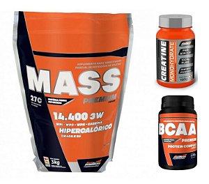 Combo Massa Muscular e Peso Mass Premium (3kg) + Creatina (150g) + BCAA (120) Caps