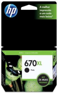 Cartucho HP 670XL Preto CZ117AB Original HP 14 ml