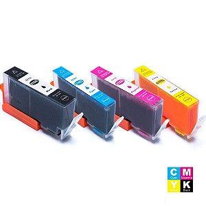 Kit Cartuchos de Tinta 670 XL Compatível HP CZ117AB, CZ118AB, CZ120AB e CZ119AB Preto, Ciano, Amarelo e Magenta
