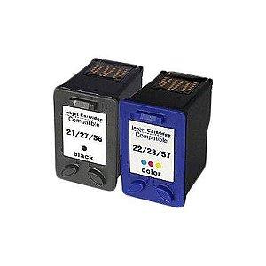 Kit 2 cartuchos HP21xl e HP22xl compativel com Tinta para HP 1401 1402 1403 1410 4315 J3650 J3635 J3680 F370 F380 F390 J3600