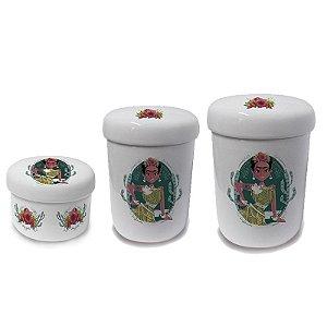 Conjunto com 3 Potes de Porcelana - Viva La Vida - Frida