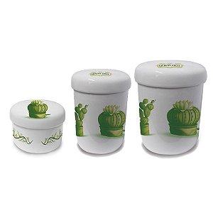 Conjunto com 3 Potes de Porcelana - Nuevos Aires - Cactus