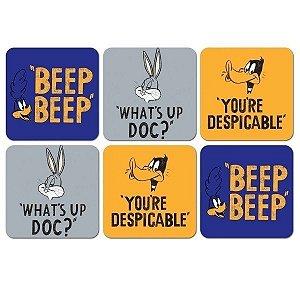 Set c/ 6 Porta Copos Looney Tunes Bordões