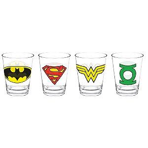 Set com 4 Copos de Vidro Dose DC Comics - Logos Heróis