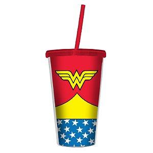 Copo Plástico com Tampa e Canudo DC Comics - Mulher Maravilha