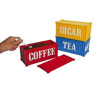 Set c/ 3 Containers p/ Café, Chá e Açúcar