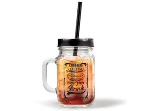 Caneca Pote (Mason Jar) Home Made - Com Canudo