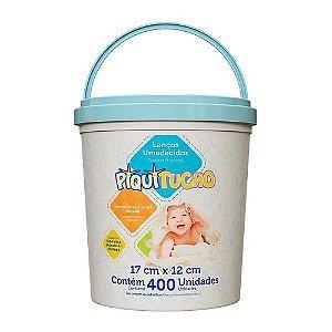 Lenços Umedecidos Piquitucho com 400 unidades Balde Azul