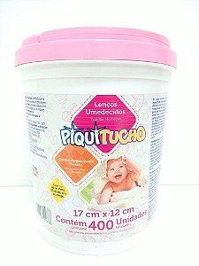 Lenços Umedecidos Piquitucho com 400 unidades Balde Rosa