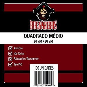 SLEEVES BUCANEIROS QUADRADO MÉDIO 80X80 - 100 UNIDADES