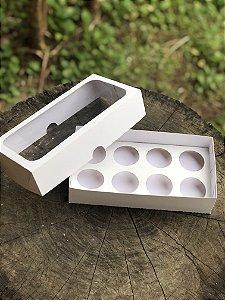 Caixa Branca 8 doces Com Visor - 10 unid.