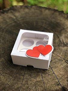 Caixa Branca 4 doces Com Visor + TAG 3D - 10 unid.