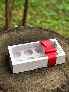 Caixa Branca 8 Doces Com Visor + LAÇO - 10 unid.