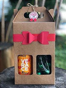 Caixa para 2 Garrafas de Cerveja 600ML + LAÇO + TAG + CORDÃO - 10 unid.