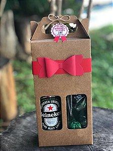 Caixa para 2 Garrafas de Cerveja LONG NECK-  330ML + LAÇO + TAG + CORDÃO - 10 unid.