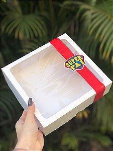 Caixa Branca Com Visor + FAIXA + TAG Dia dos Pais - 10 unid.