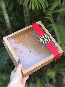 Caixa Kraft Com Visor + FAIXA + TAG Dia dos Pais - 10 unid.