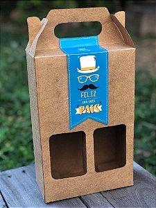 Caixa para 2 Garrafas de Cerveja 600ML COM ADESIVO PERSONALIZADO Dia dos Pais - 10 unid.